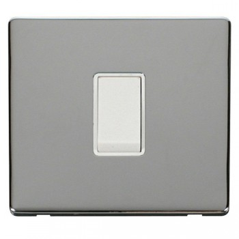 Click Definity Flat Plate Screwless 10AX 1 Gang 2 Way Polar White Switch with Polished Chrome Cover Plate