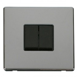 Click Definity Flat Plate Screwless 10AX 2 Gang 2 Way Black Switch with Polished Chrome Cover Plate