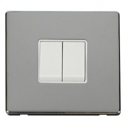 Click Definity Flat Plate Screwless 10AX 2 Gang 2 Way Polar White Switch with Polished Chrome Cover Plate