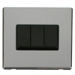 Click Definity Flat Plate Screwless 10AX 3 Gang 2 Way Black Switch with Polished Chrome Cover Plate