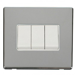 Click Definity Flat Plate Screwless 10AX 3 Gang 2 Way Polar White Switch with Polished Chrome Cover Plate