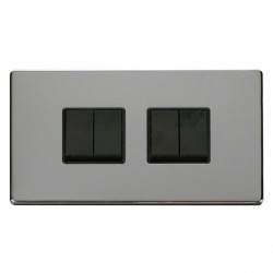 Click Definity Flat Plate Screwless 10AX 4 Gang 2 Way (2 x 2) Black Switch with Polished Chrome Cover Pla...