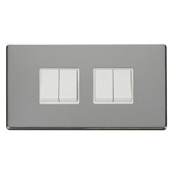 Click Definity Flat Plate Screwless 10AX 4 Gang 2 Way (2 x 2) Polar White Switch with Polished Chrome Cover Plate
