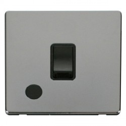 Click Definity Flat Plate Screwless 20A DP Black Switch with Flex Outlet with Polished Chrome Cover Plate
