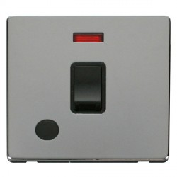 Click Definity Flat Plate Screwless 20A DP Black Switch with Flex Outlet and Neon with Polished Chrome Co...