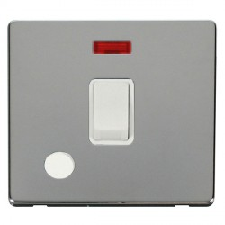 Click Definity Flat Plate Screwless 20A DP Polar White Switch with Flex Outlet and Neon with Polished Chr...