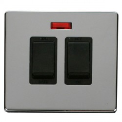 Click Definity Flat Plate Screwless 20A Black Sink and Bath Switch with Neon with Polished Chrome Cover P...