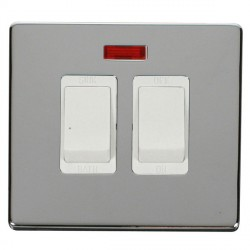 Click Definity Flat Plate Screwless 20A Polar White Sink and Bath Switch with Neon with Polished Chrome C...