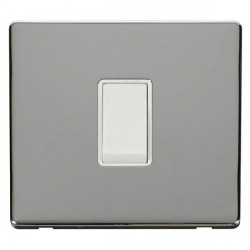 Click Definity Flat Plate Screwless 10AX 1 Gang Intermediate Polar White Switch with Polished Chrome Cover Plate