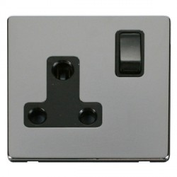 Click Definity Flat Plate Screwless 1 Gang 15A Round Pin Black Switched Socket with Polished Chrome Cover...