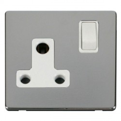 Click Definity Flat Plate Screwless 1 Gang 15A Round Pin Polar White Switched Socket with Polished Chrome...