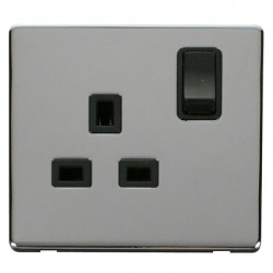 Click Definity Flat Plate Screwless 1 Gang UK 13A Black Switched Socket with Polished Chrome Cover Plate