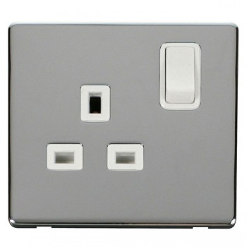 Click Definity Flat Plate Screwless 1 Gang UK 13A Polar White Switched Socket with Polished Chrome Cover Plate