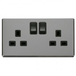 Click Definity Flat Plate Screwless 2 Gang UK 13A Black Switched Socket with Polished Chrome Cover Plate