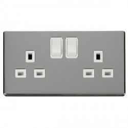 Click Definity Flat Plate Screwless 2 Gang UK 13A Polar White Switched Socket with Polished Chrome Cover Plate