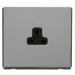 Click Definity Flat Plate Screwless 1 Gang 2A Round Pin Black Socket with Polished Chrome Cover Plate