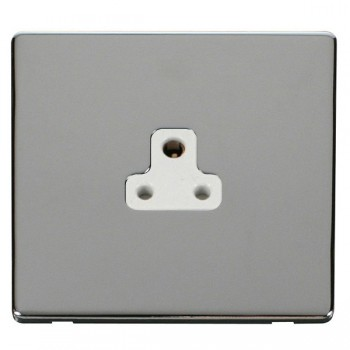 Click Definity Flat Plate Screwless 1 Gang 2A Round Pin Polar White Socket with Polished Chrome Cover Plate