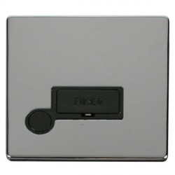 Click Definity Flat Plate Screwless 13A Black Fused Connection Unit with Flex Outlet with Polished Chrome...