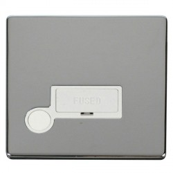 Click Definity Flat Plate Screwless 13A Polar White Fused Connection Unit with Flex Outlet with Polished ...