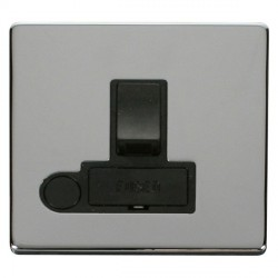 Click Definity Flat Plate Screwless 13A Black Fused Switched Connection Unit with Flex Outlet with Polish...