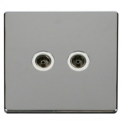 Click Definity Flat Plate Screwless Twin Standard Polar White Coaxial Socket with Polished Chrome Cover Plate