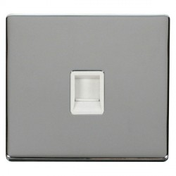 Click Definity Flat Plate Screwless Single Polar White RJ11 Socket with Polished Chrome Cover Plate