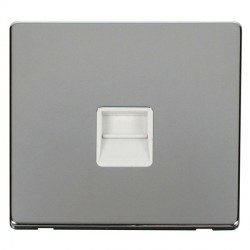 Click Definity Flat Plate Screwless Single Polar White Telephone Master Outlet with Polished Chrome Cover Plate