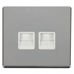 Click Definity Flat Plate Screwless Twin Polar White Telephone Master Outlet with Polished Chrome Cover Plate
