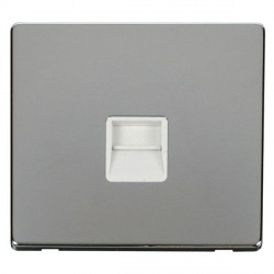 Click Definity Flat Plate Screwless Single Polar White Telephone Secondary Outlet with Polished Chrome Cover Plate