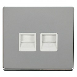 Click Definity Flat Plate Screwless Twin Polar White Telephone Secondary Outlet with Polished Chrome Cover Plate