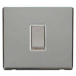 Click Definity Flat Plate Screwless 10AX 1 Gang 2 Way Polar White Insert with Polished Chrome Switch with Polished Chrome Cover Plate