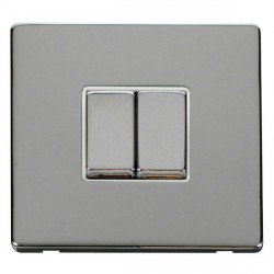 Click Definity Flat Plate Screwless 10AX 2 Gang 2 Way Polar White Insert with Polished Chrome Switch with Polished Chrome Cover Plate