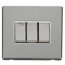 Click Definity Flat Plate Screwless 10AX 3 Gang 2 Way Polar White Insert with Polished Chrome Switch with Polished Chrome Cover Plate