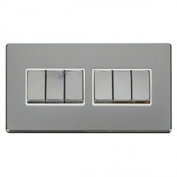 Click Definity Flat Plate Screwless 10AX 6 Gang 2 Way (2 x 3) Polar White Insert with Polished Chrome Switch with Polished Chrome Cover Plate
