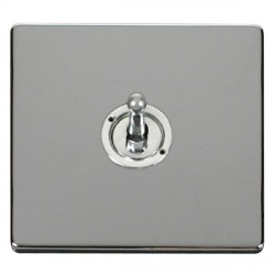 Click Definity Flat Plate Screwless 10AX 1 Gang Polished Chrome Intermediate Toggle Switch with Polished Chrome Cover Plate
