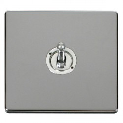 Click Definity Flat Plate Screwless 10AX 1 Gang 2 Way Polished Chrome Toggle Switch with Polished Chrome Cover Plate