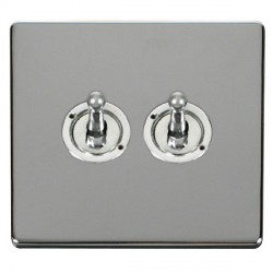 Click Definity Flat Plate Screwless 10AX 2 Gang 2 Way Polished Chrome Toggle Switch with Polished Chrome Cover Plate