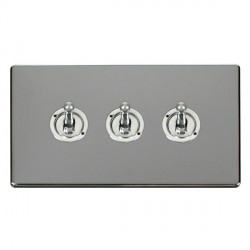 Click Definity Flat Plate Screwless 10AX 3 Gang 2 Way Polished Chrome Toggle Switch with Polished Chrome Cover Plate