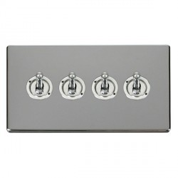 Click Definity Flat Plate Screwless 10AX 4 Gang 2 Way Polished Chrome Toggle Switch with Polished Chrome Cover Plate