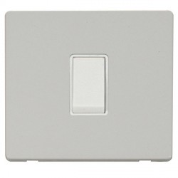 Click Definity Flat Plate Screwless 10AX 1 Gang 2 Way Polar White Switch with Polar White Cover Plate