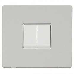 Click Definity Flat Plate Screwless 10AX 2 Gang 2 Way Polar White Switch with Polar White Cover Plate