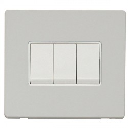 Click Definity Flat Plate Screwless 10AX 3 Gang 2 Way Polar White Switch with Polar White Cover Plate
