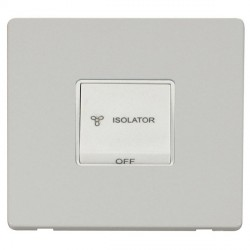 Click Definity Flat Plate Screwless 10A 3 Pole Fan Isolation Polar White Switch with Polar White Cover Plate