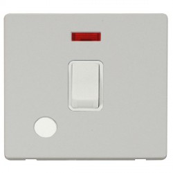 Click Definity Flat Plate Screwless 20A DP Polar White Switch with Flex Outlet and Neon with Polar White Cover Plate