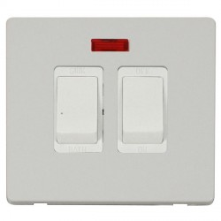 Click Definity Flat Plate Screwless 20A Polar White Sink and Bath Switch with Neon with Polar White Cover Plate