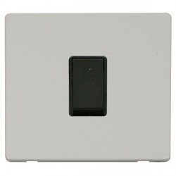 Click Definity Flat Plate Screwless 10AX 1 Gang Intermediate Black Switch Polar White Cover Plate