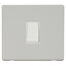 Click Definity Flat Plate Screwless 10AX 1 Gang Intermediate Polar White Switch Polar White Cover Plate