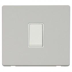 Click Definity Flat Plate Screwless 10AX 1 Gang Intermediate Polar White Switch Polar White Cover Plate