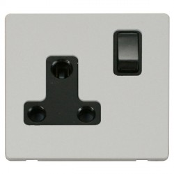Click Definity Flat Plate Screwless 1 Gang 15A Round Pin Black Switched Socket with Polar White Cover Plate