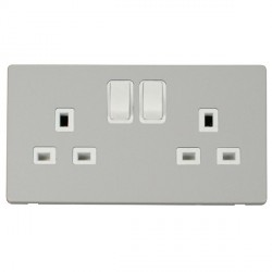 Click Definity Flat Plate Screwless 2 Gang UK 13A Polar White Switched Socket with Polar White Cover Plate
